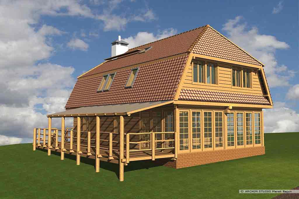 Dom z drewna- widok od strony tarasu