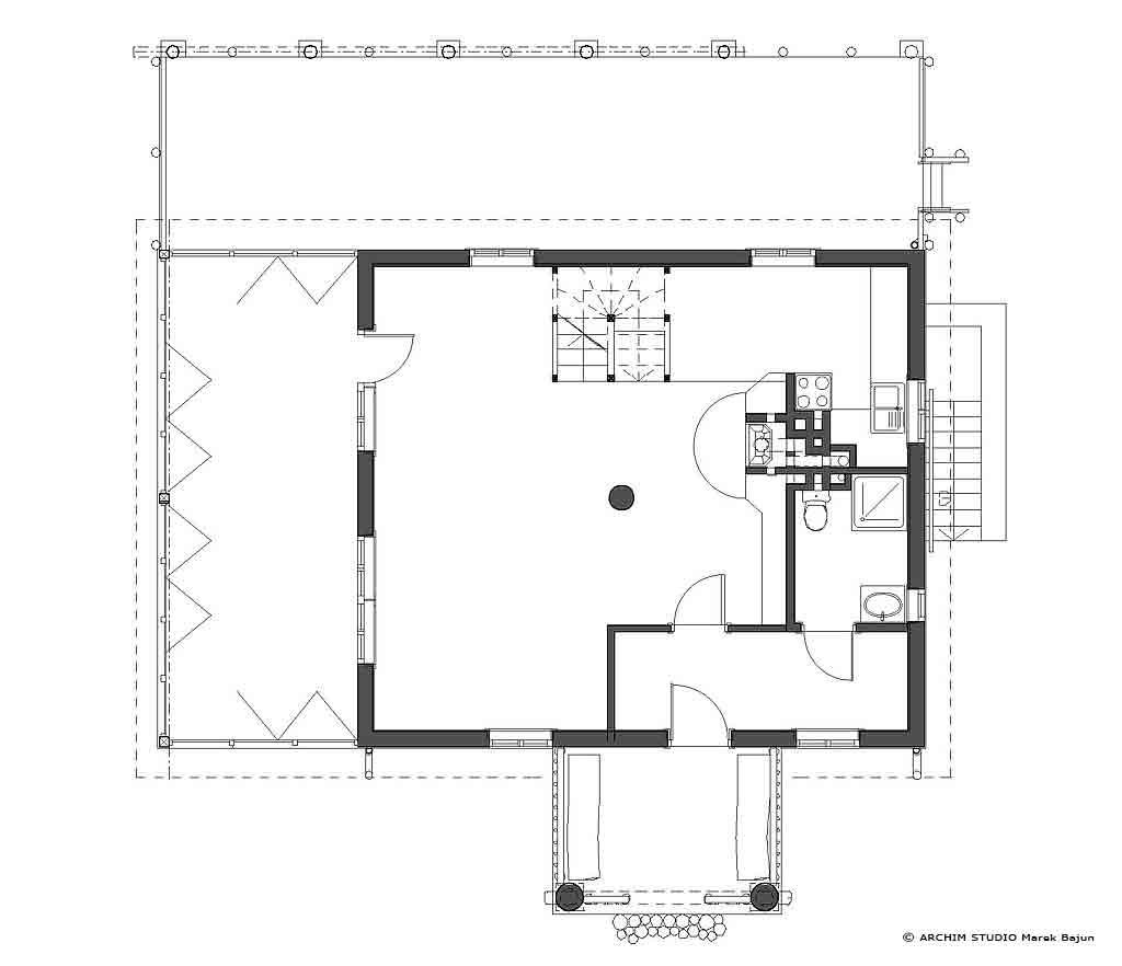 Dom z drewna- rzut parteru