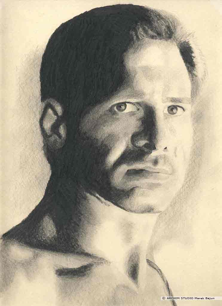Harrison Ford portret 2-gi narysowany ołówkiem