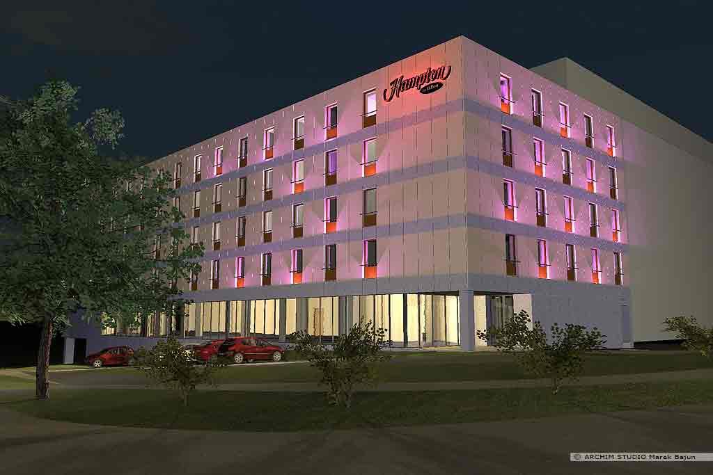 Hotel Hampton Hilton- widok nocny