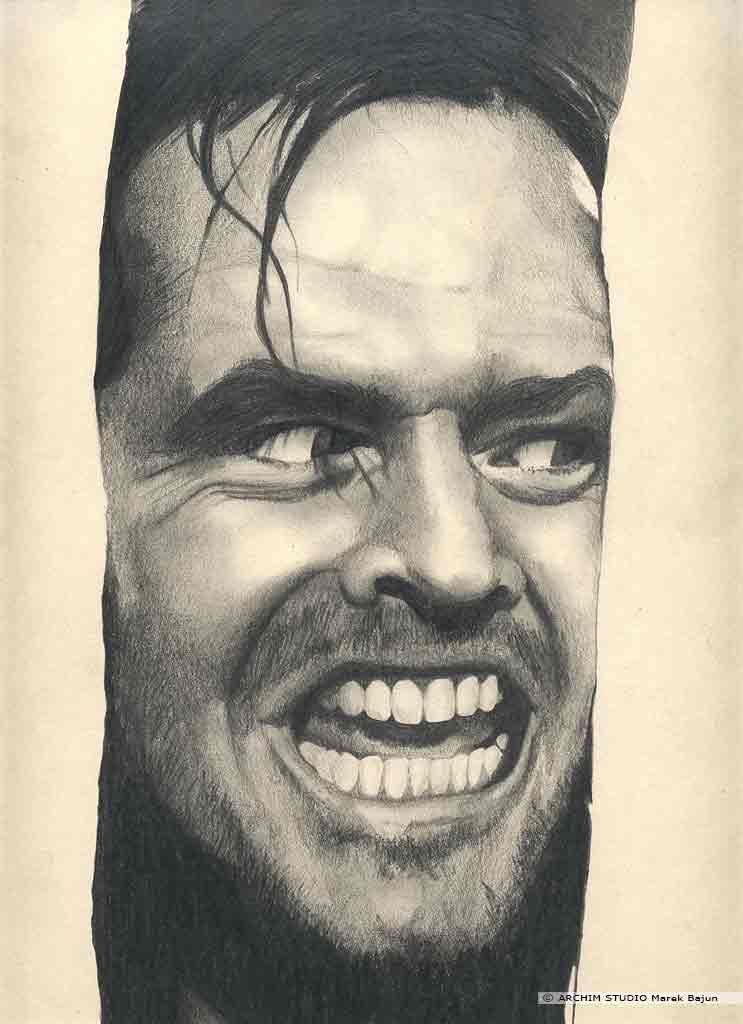 Jack Nicholson aktor portret narysowany ołówkiem