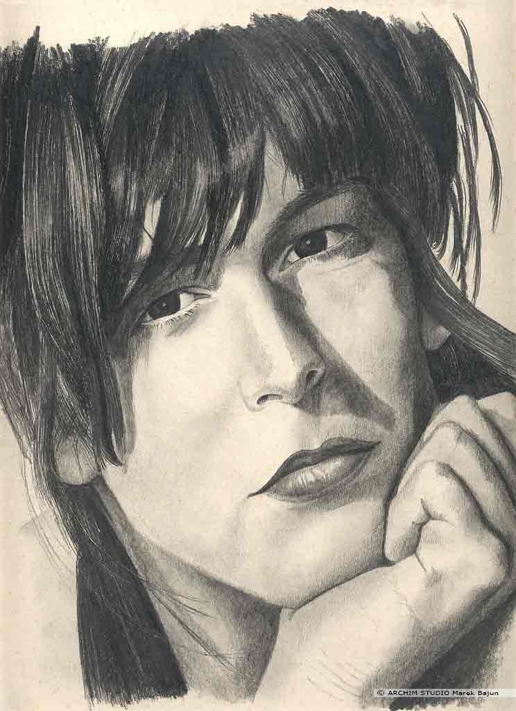 Jamie Lee Curtis portret narysowany ołówkiem