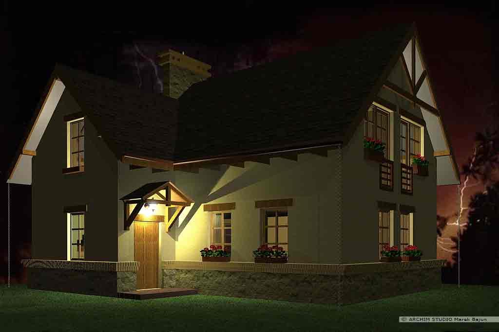Jednorodzinny dom rustykalny- widok nocny