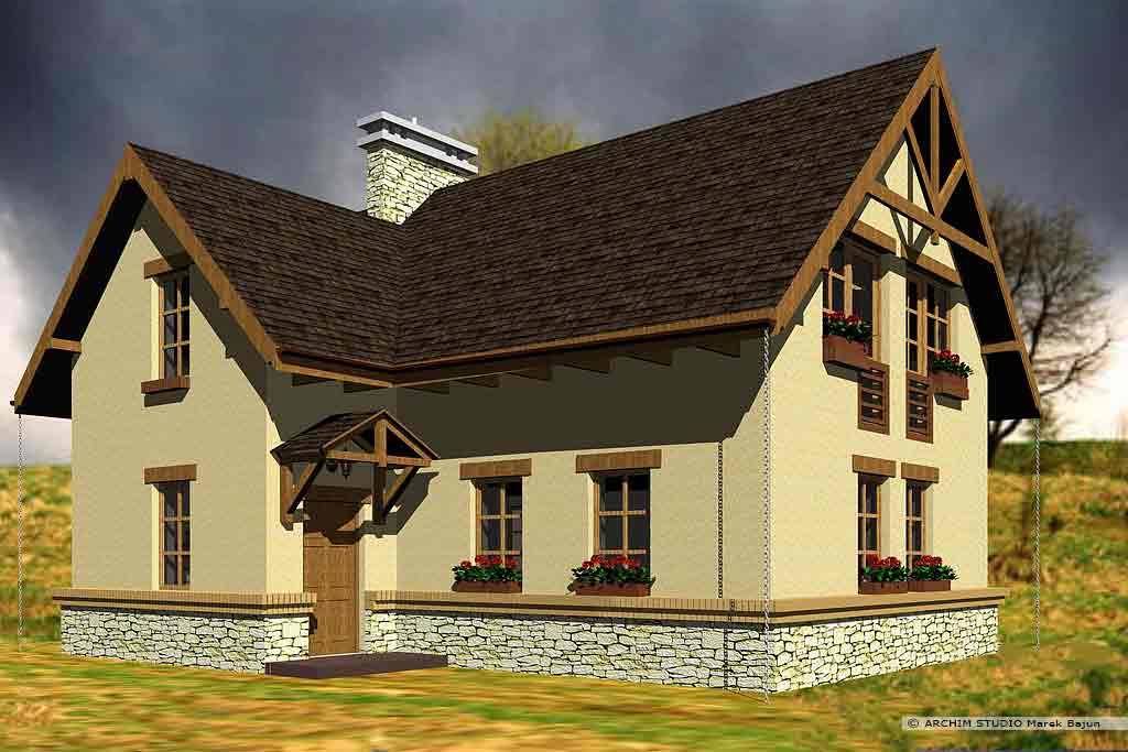 Jednorodzinny dom rustykalny- widok