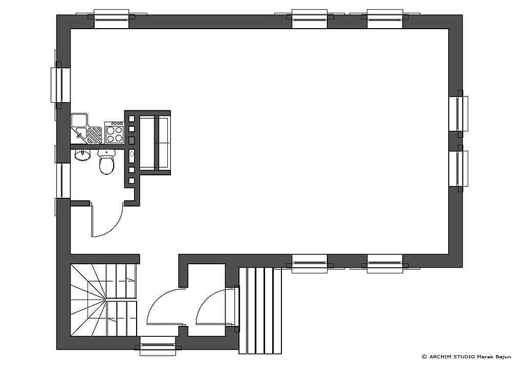 Jednorodzinny dom rustykalny- rzut parteru