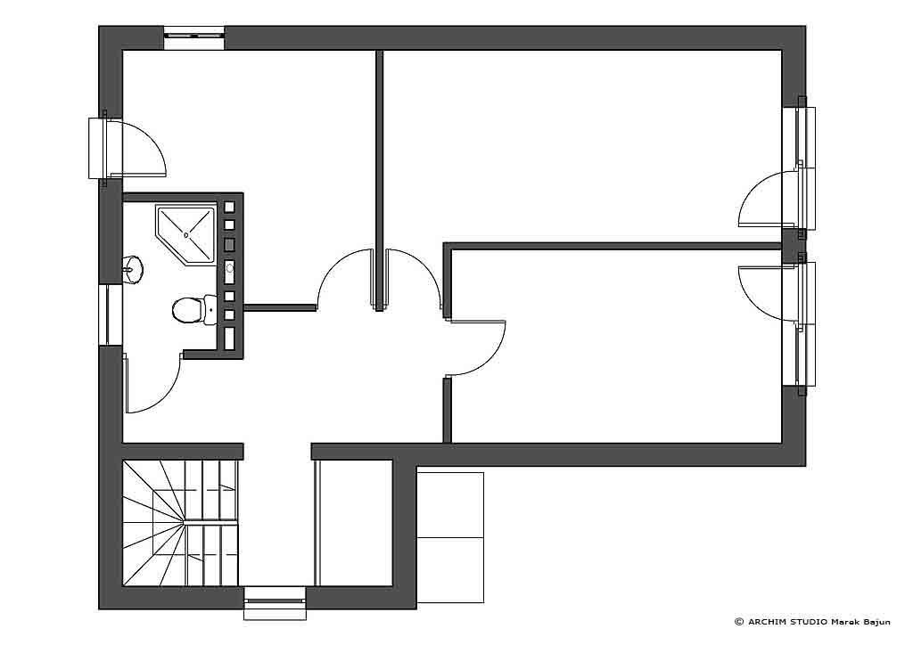 Jednorodzinny dom rustykalny- rzut poddasza
