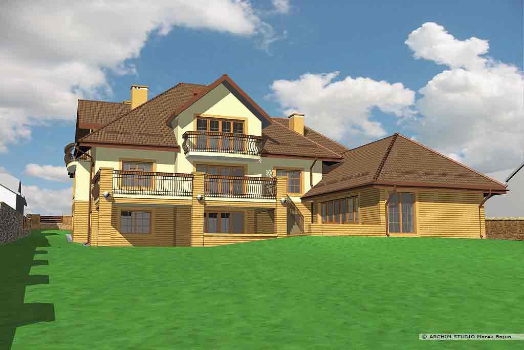 Dom z basenem- widok układu cegieł