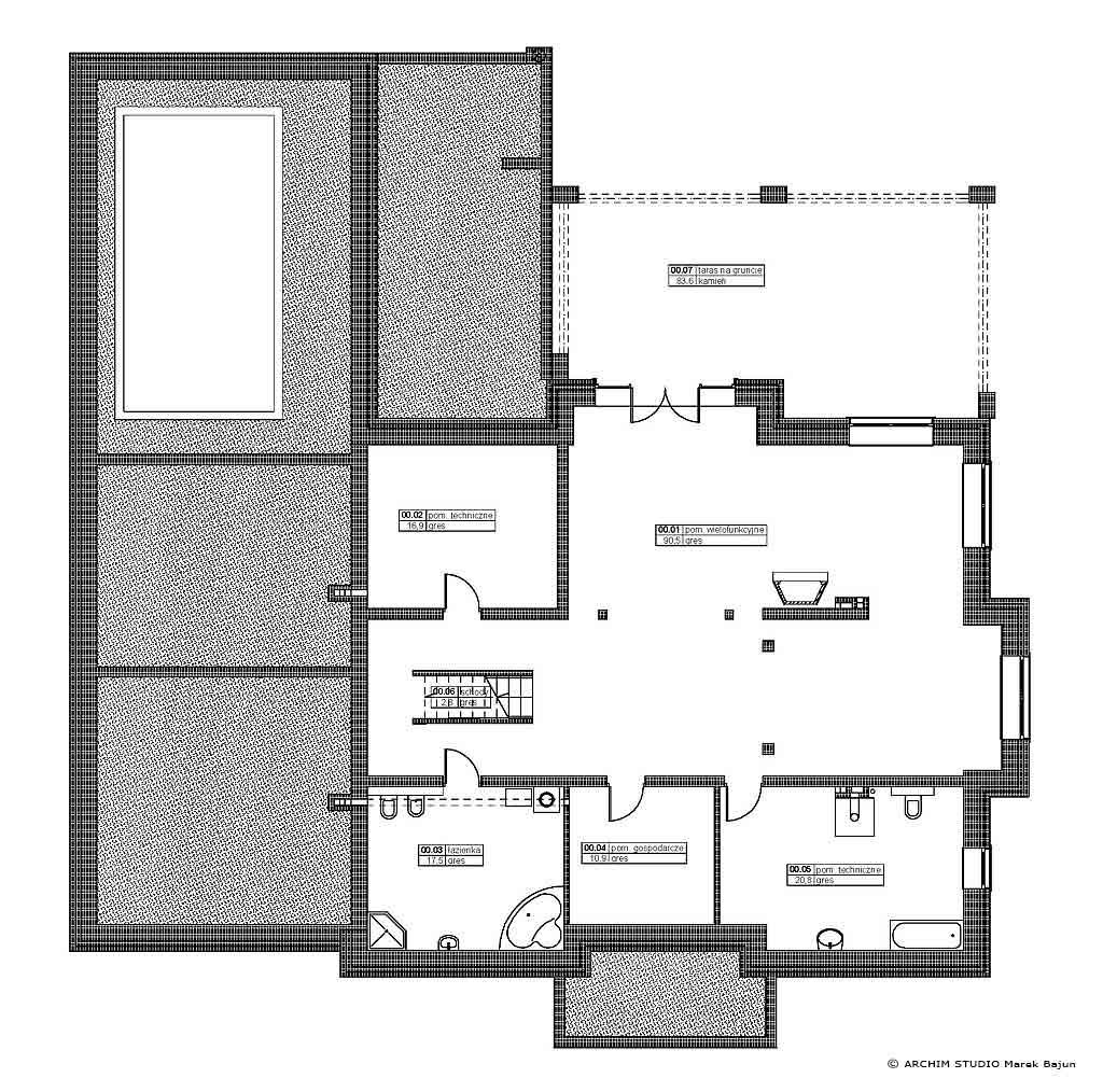 Dom z basenem- rzut niskiego parteru