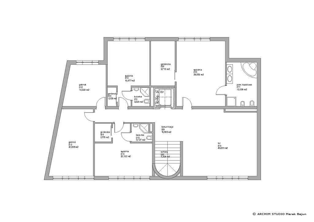 Dom z windą- rzut 1 piętra