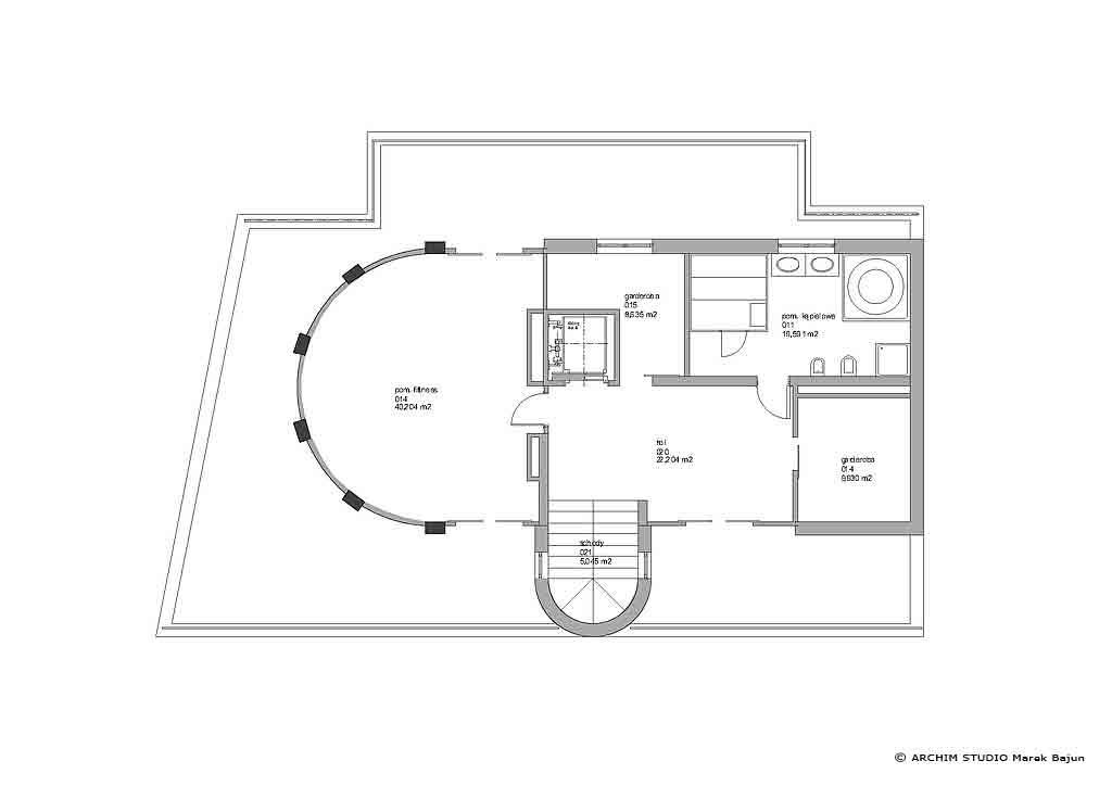 Dom z windą- rzut 2 piętra