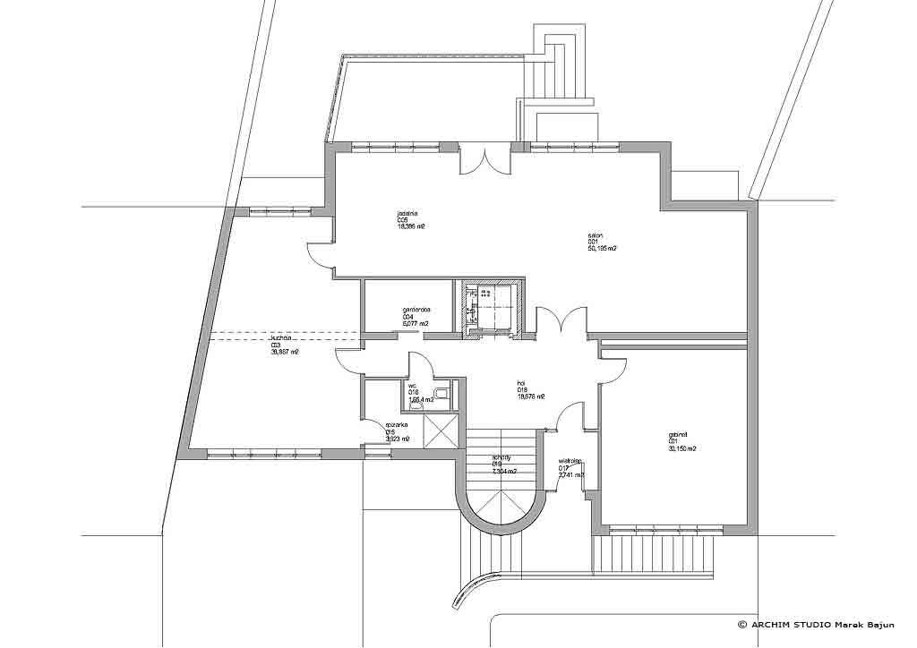 Dom z windą- rzut parteru