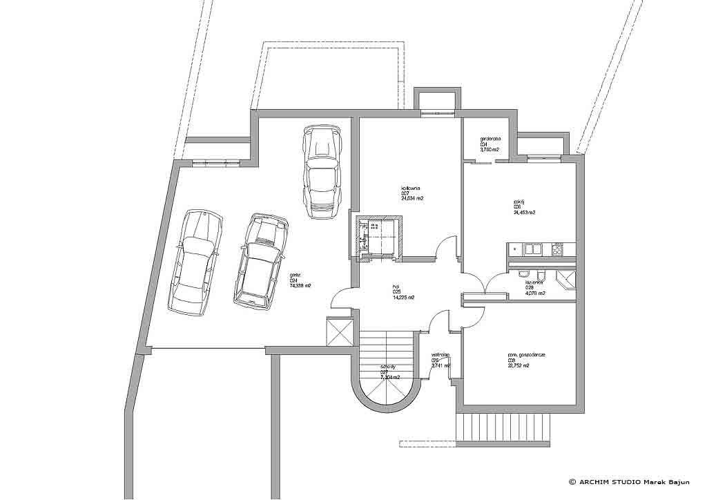 Dom z windą- rzut piwnicy