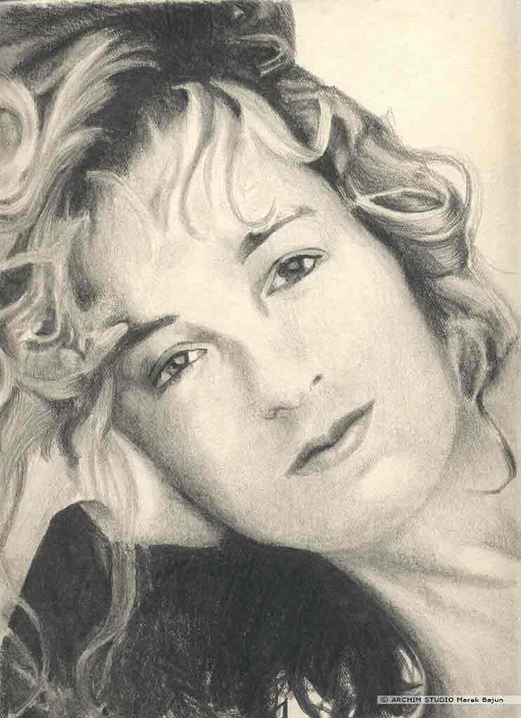 Jennifer Grey portret narysowany ołówkiem