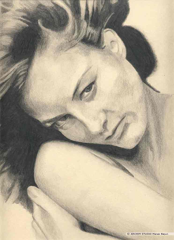 Jodie Foster portret narysowany ołówkiem