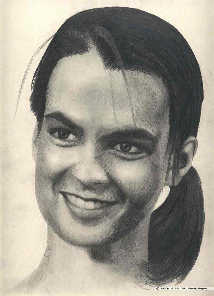 Katarina Witt portret narysowany ołówkiem