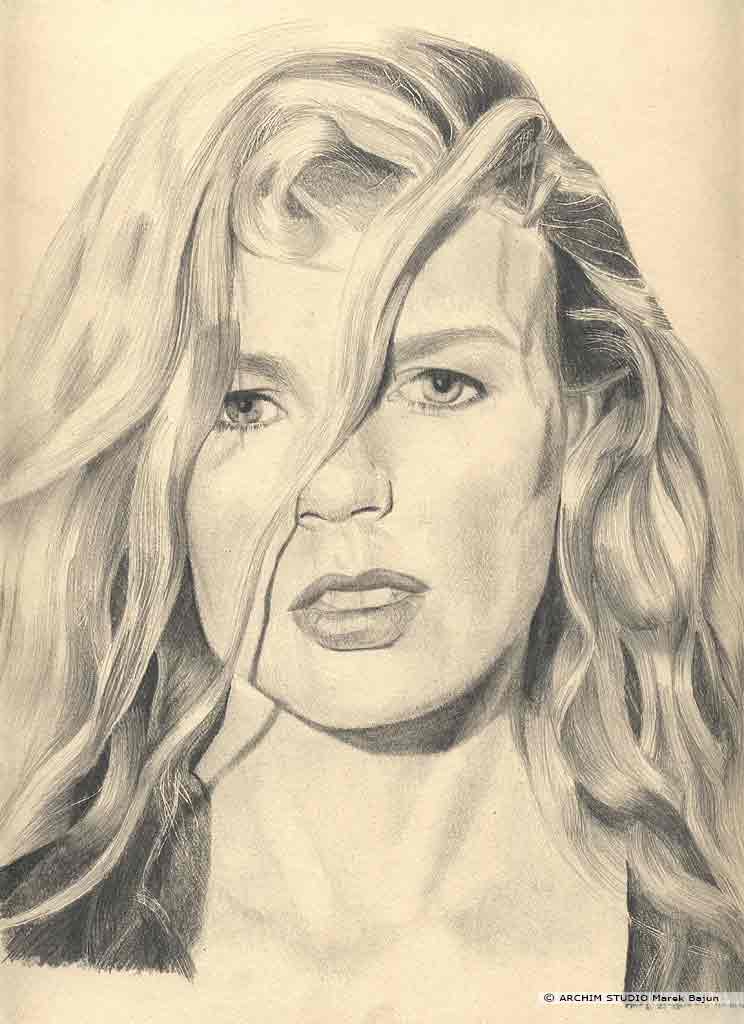 Kim Basinger portret narysowany ołówkiem
