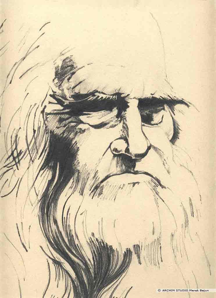 Leonardo da Vinci portret narysowany ołówkiem