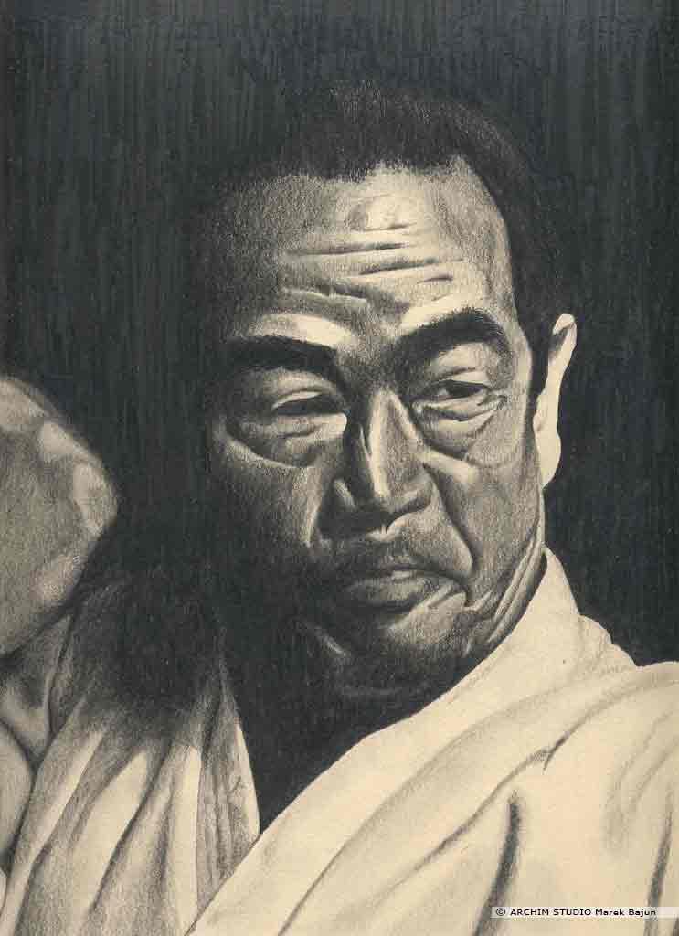 Masatoshi Nakayama portret narysowany ołówkiem