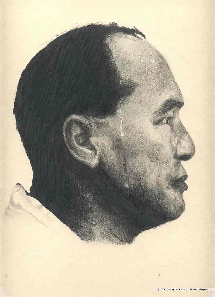 Masutatsu Oyama portret narysowany ołówkiem