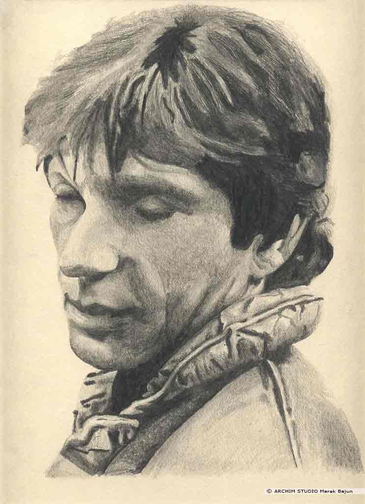 Michael Brandon portret narysowany ołówkiem