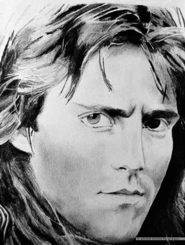 Michael Praed portret narysowany ołówkiem