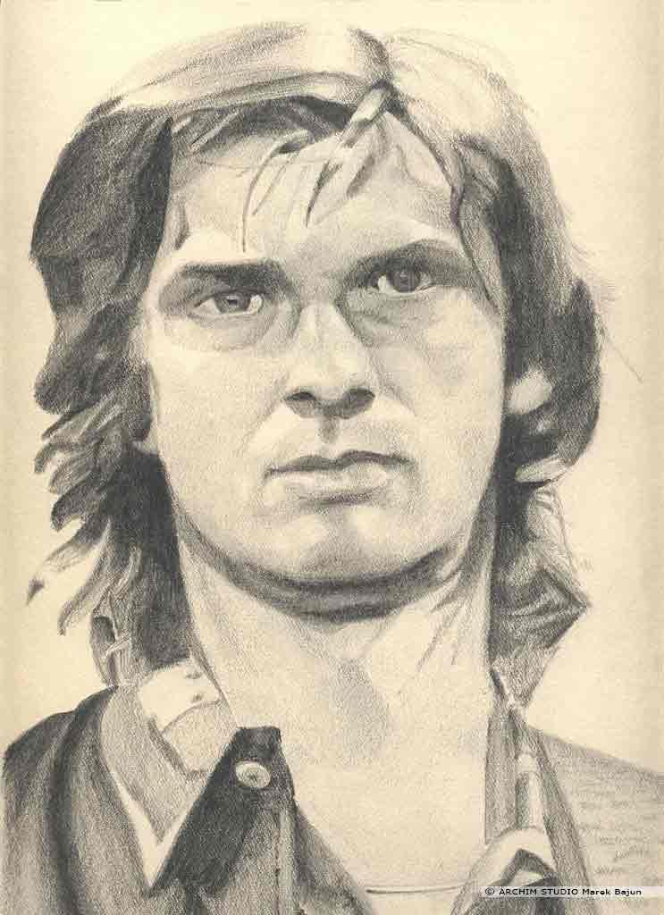 Mike Oldfield portret narysowany ołówkiem