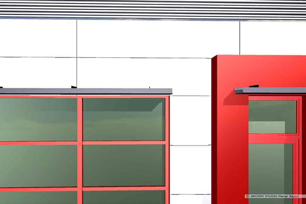 Modernizacja salonu samochodowego Seat- detal elewacji