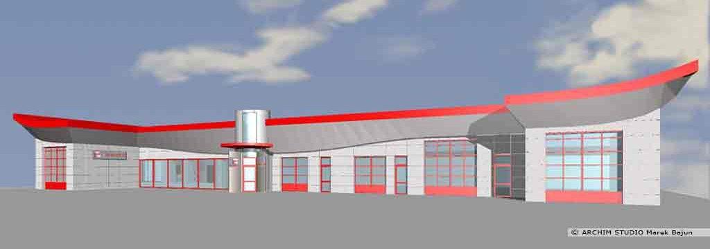 Modernizacja salonu samochodowego Seat- widok elewacji frontowej
