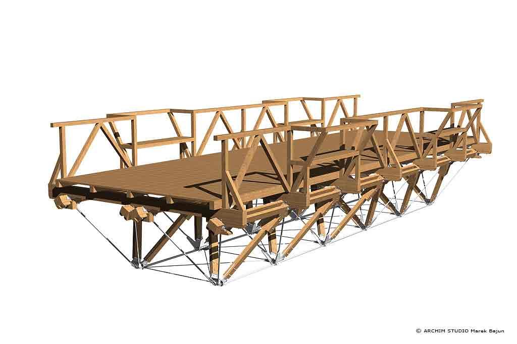 Most drewniany- widok
