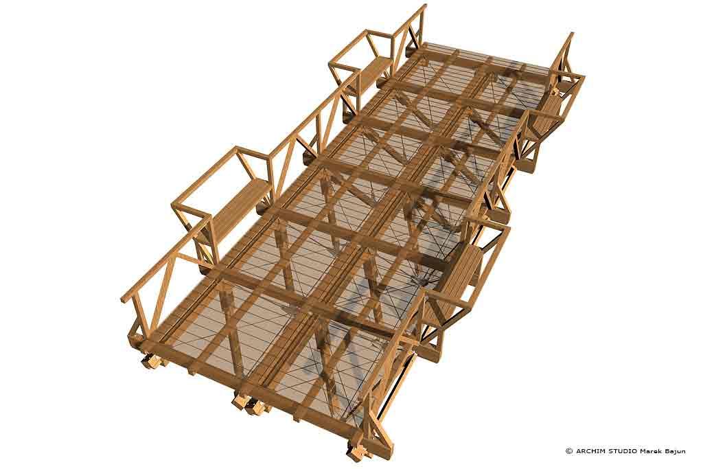 Most drewniany- widok z góry