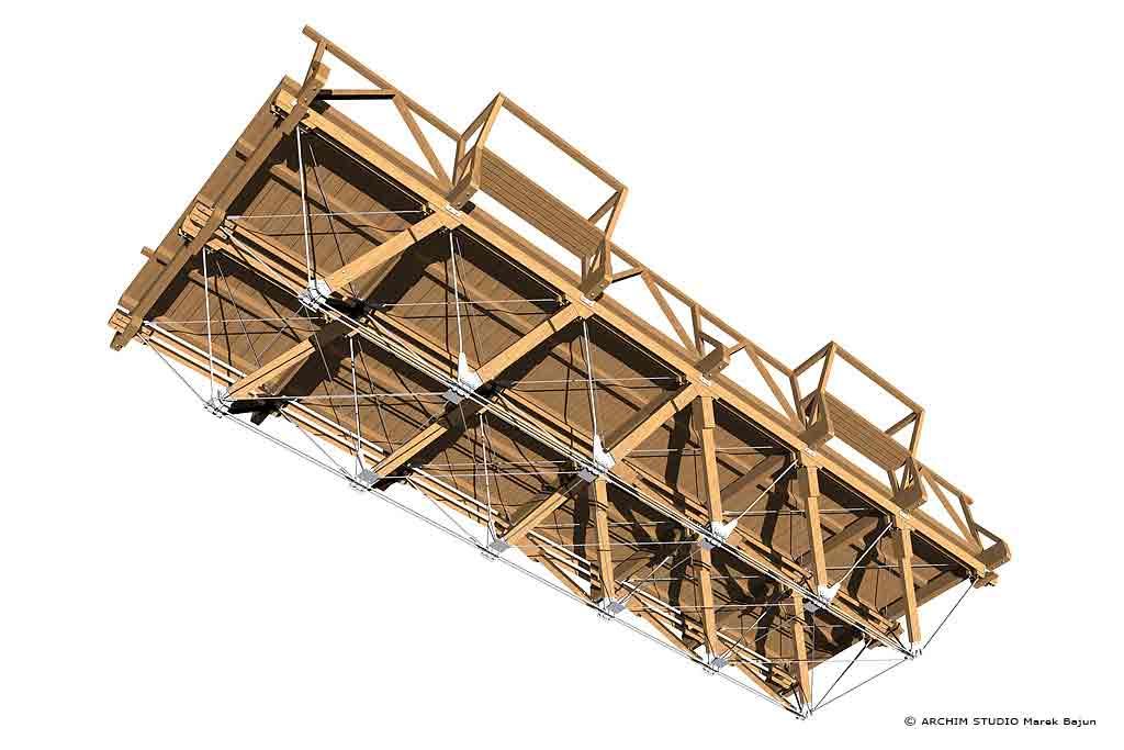 Most drewniany- widok od dołu