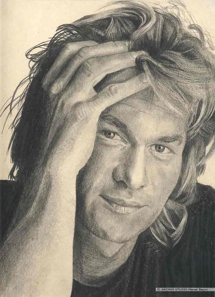 Patrick Swayze portret narysowany ołówkiem