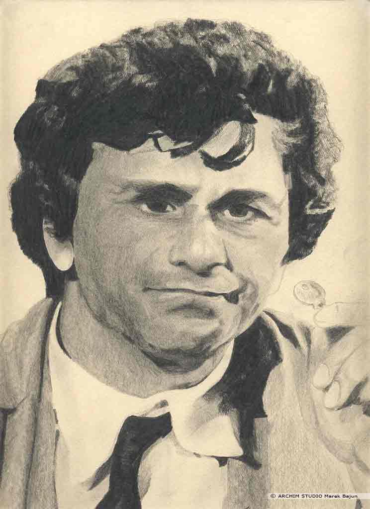 Peter Falk portret narysowany ołówkiem