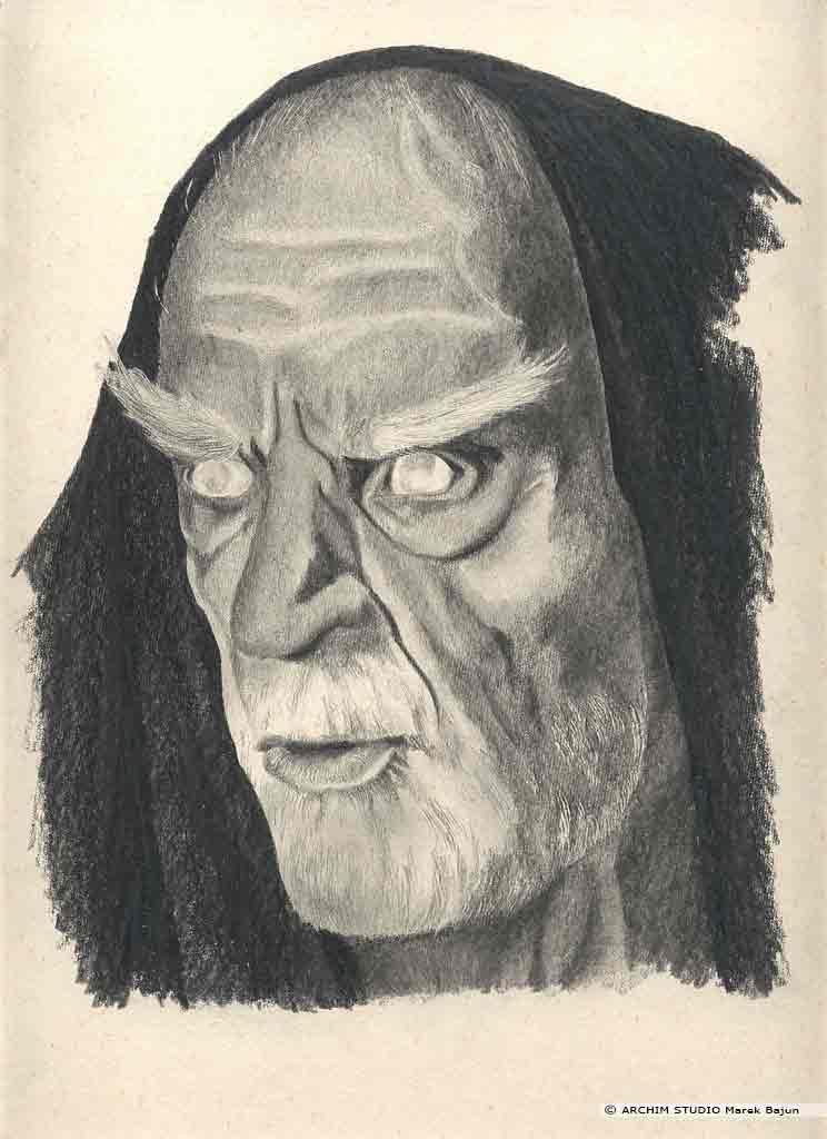 portret zakonnika z Imienia Róży narysowany ołówkiem