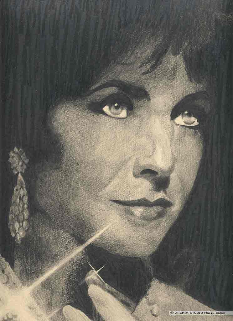 Elizabeth Taylor portret narysowany ołówkiem