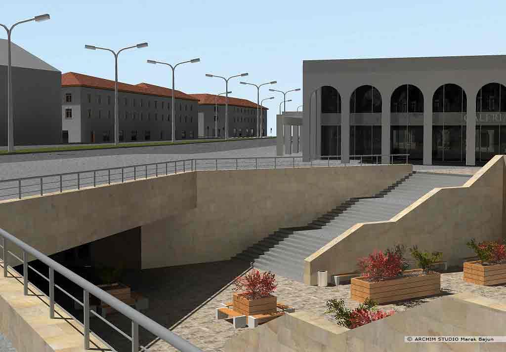 Projekt rewitalizacji obszaru Podzamcza w Lublinie- widok zejścia do przejścia podziemnego