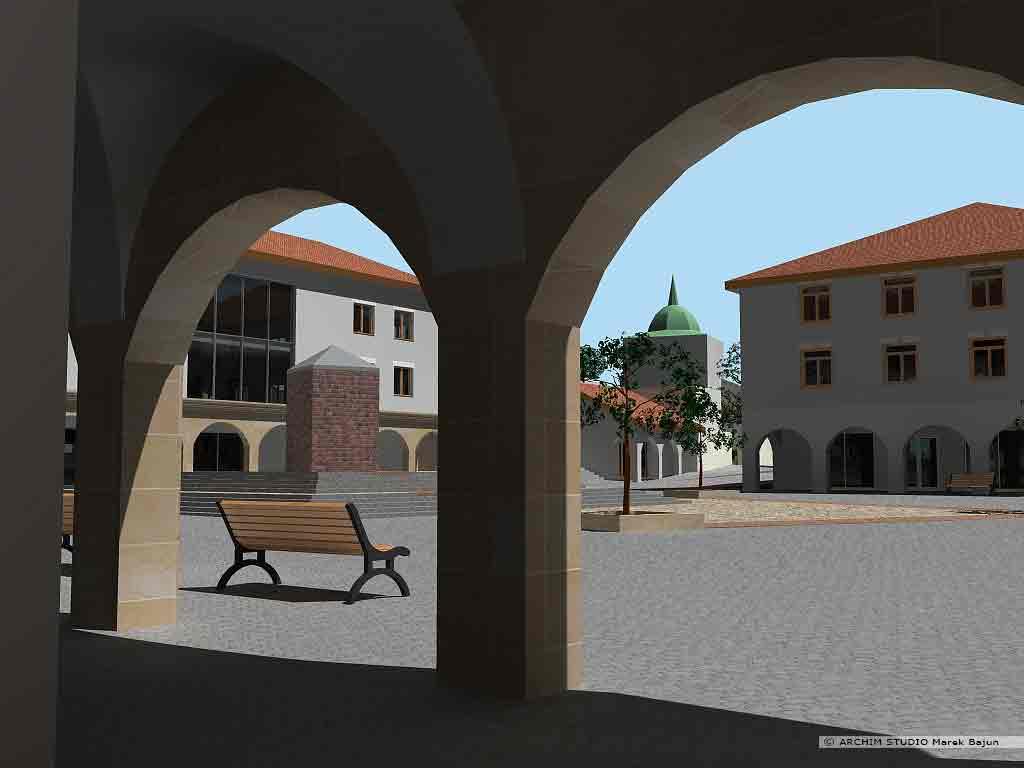 Projekt rewitalizacji obszaru Podzamcza w Lublinie- widok z podcieni na cerkiew