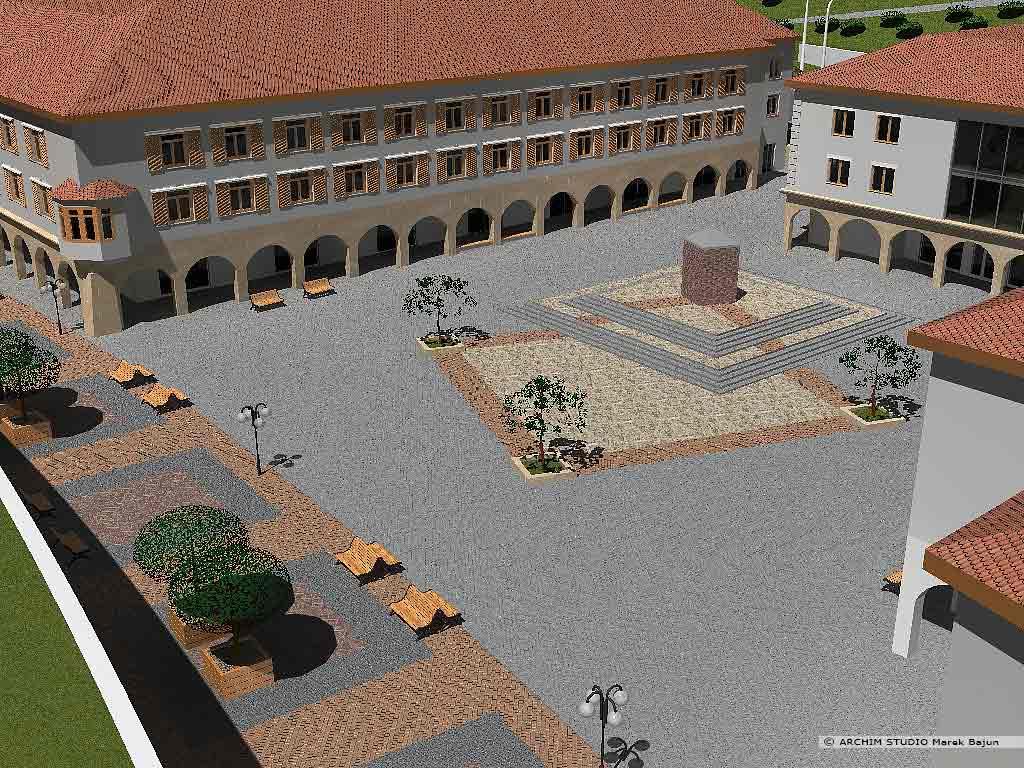 Projekt rewitalizacji obszaru Podzamcza w Lublinie- widok z góry na plac ze zdrojem