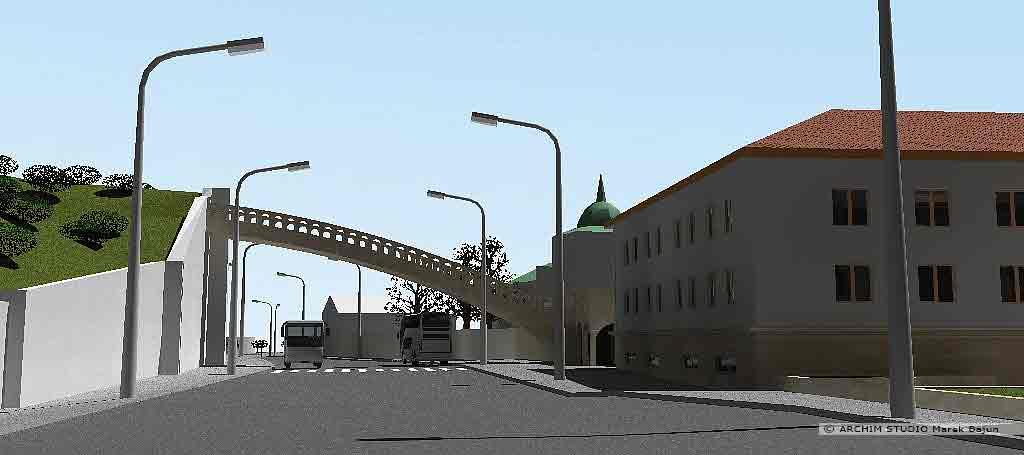 Projekt rewitalizacji obszaru Podzamcza w Lublinie- most odtwarzający stok wzgórza Czwartek