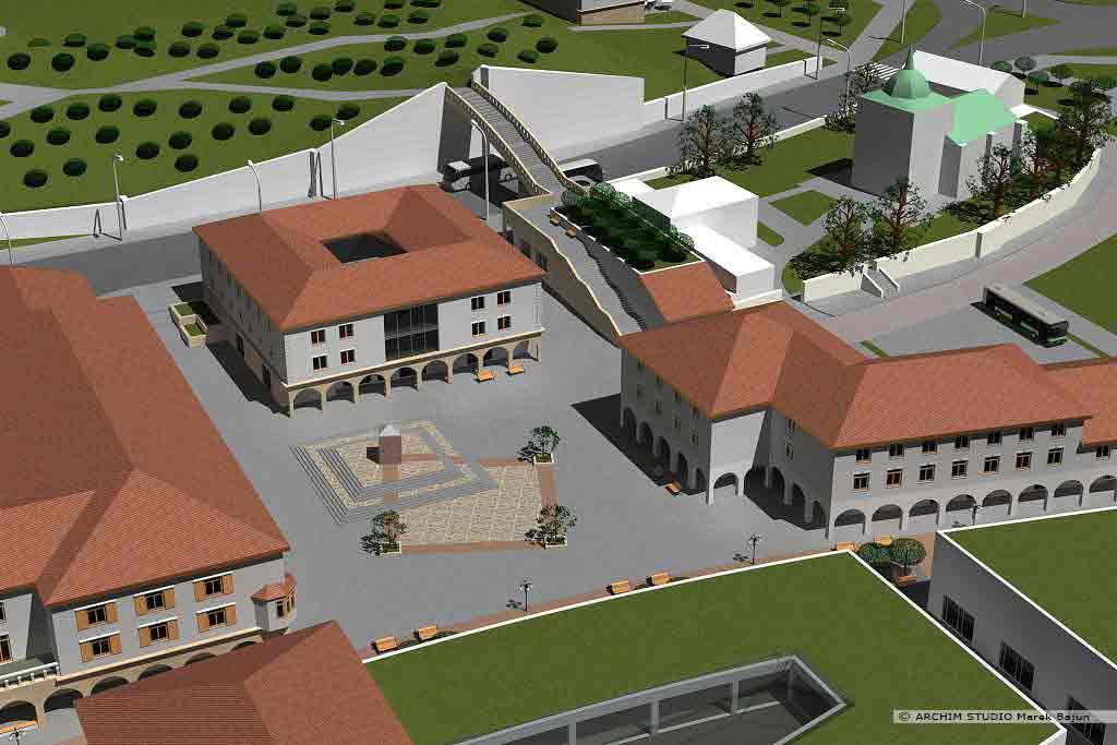 Projekt rewitalizacji obszaru Podzamcza w Lublinie- widok z lotu ptaka placu ze zdrojem