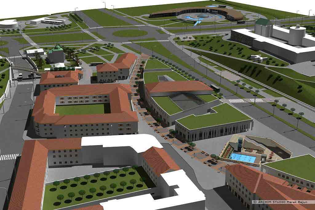 Projekt rewitalizacji obszaru Podzamcza w Lublinie- widok z lotu ptaka