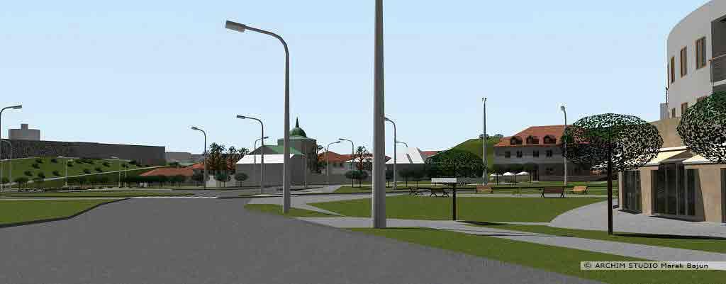 Projekt rewitalizacji obszaru Podzamcza w Lublinie- widok na cerkiew