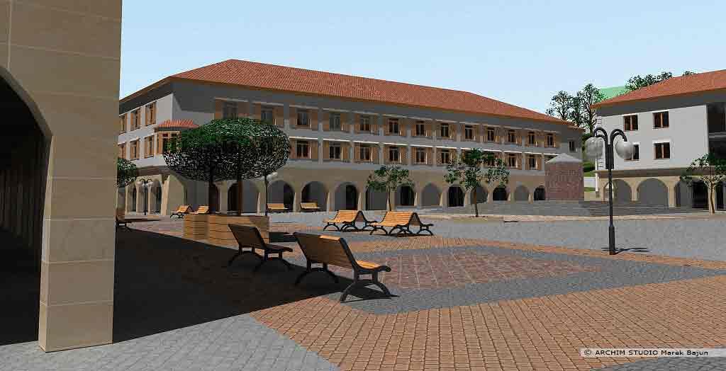 Projekt rewitalizacji obszaru Podzamcza w Lublinie- widok placu ze zdrojem