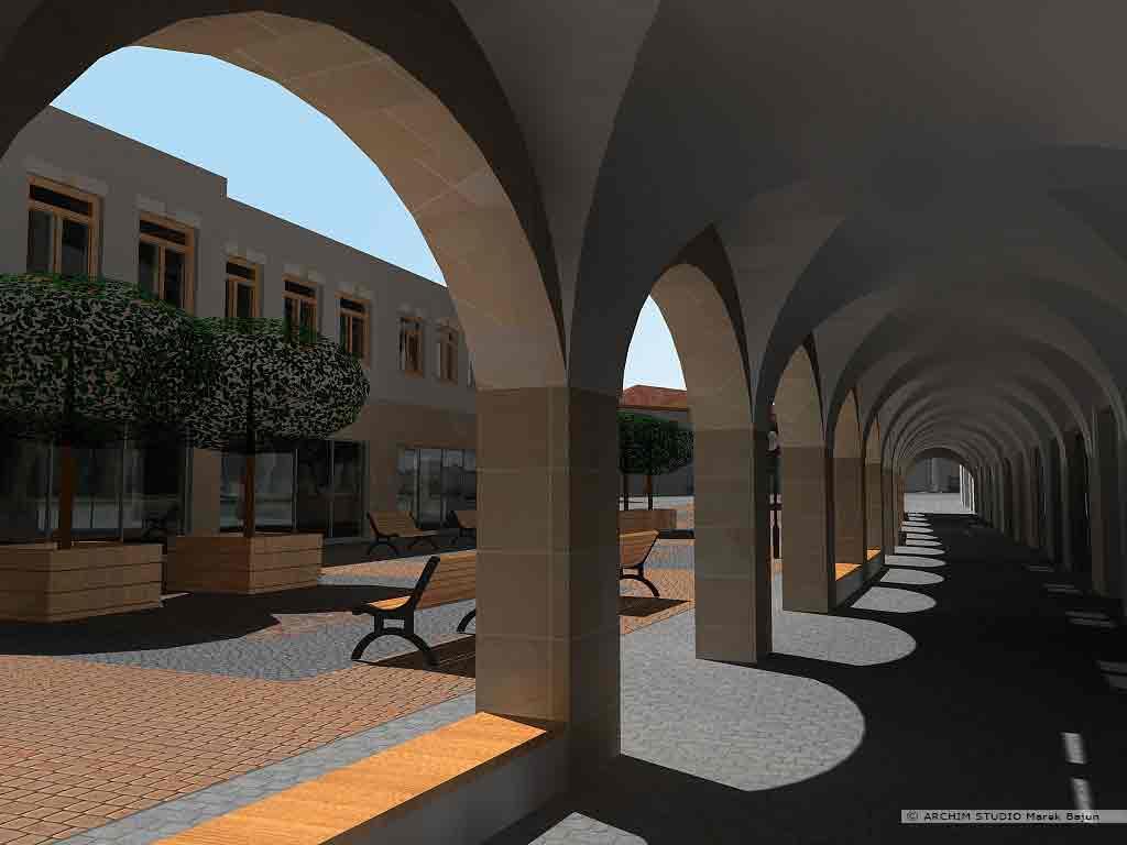 Projekt rewitalizacji obszaru Podzamcza w Lublinie- arkadowe podcienia ciągu pieszego