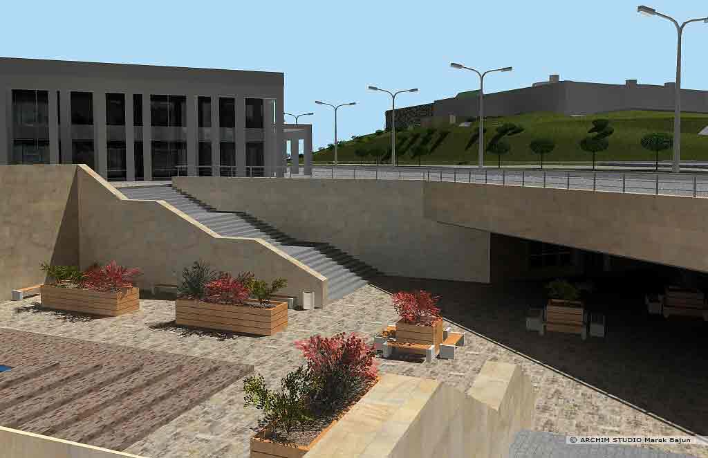 Projekt rewitalizacji obszaru Podzamcza w Lublinie- wejście do przejścia podziemnego