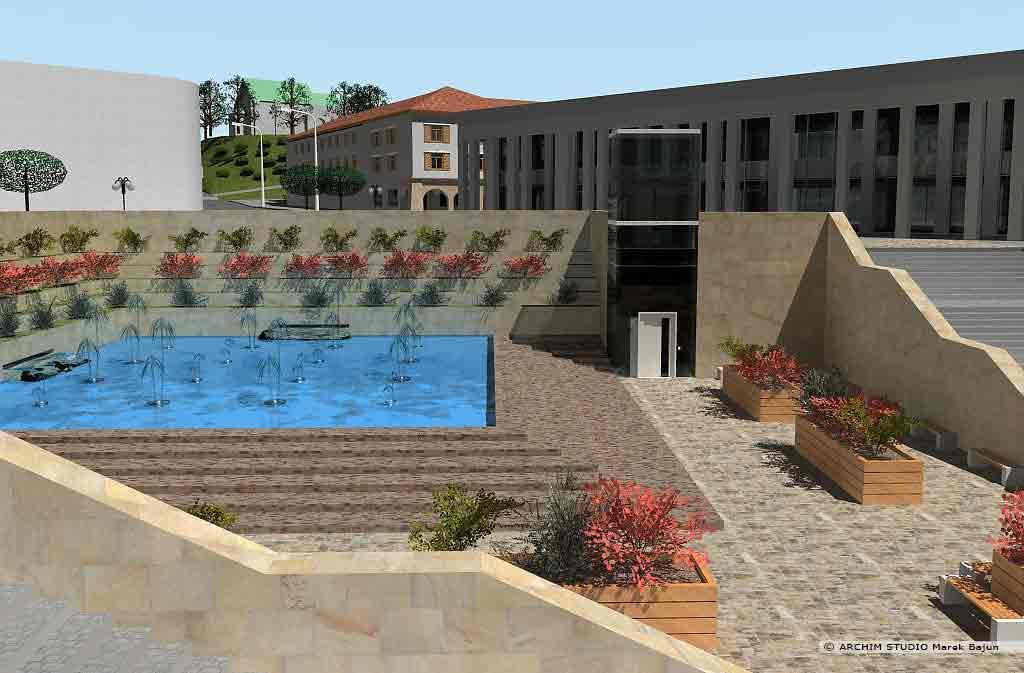 Projekt rewitalizacji obszaru Podzamcza w Lublinie- fontanna przy przejściu podziemnym