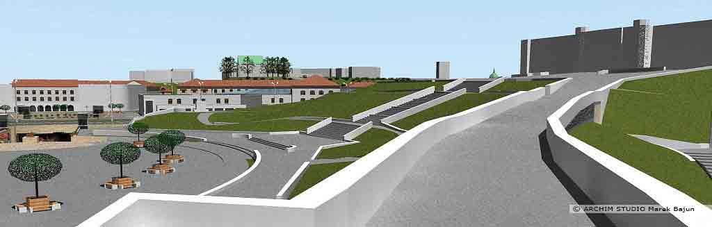 Projekt rewitalizacji obszaru Podzamcza w Lublinie- widok od strony Starego Miasta