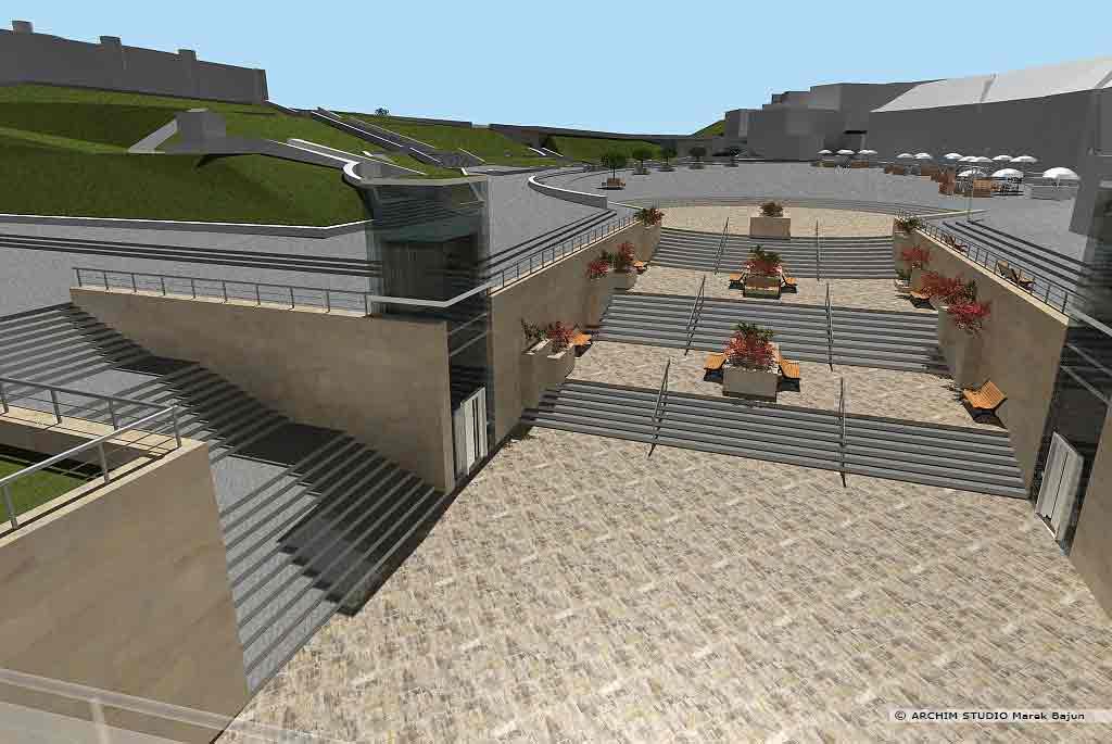 Projekt rewitalizacji obszaru Podzamcza w Lublinie- zejście do przejścia podziemnego