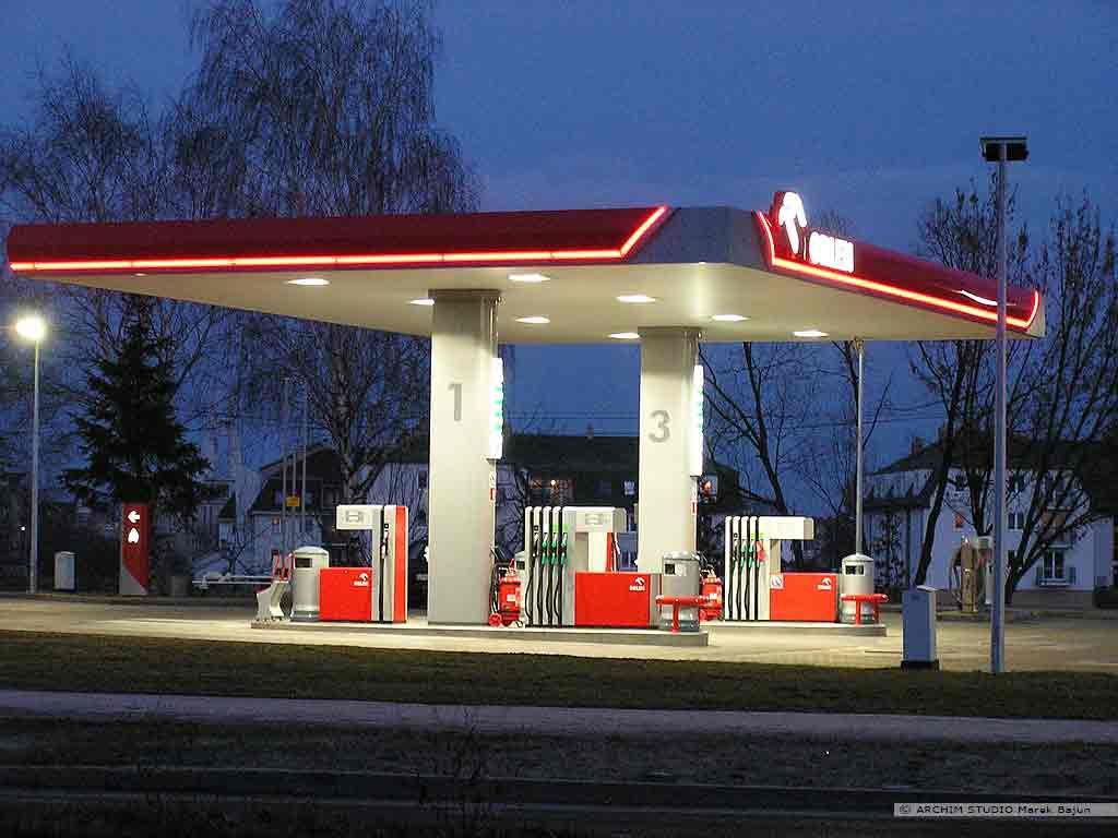 Projekt stacji benzynowej z myjnią- wiata