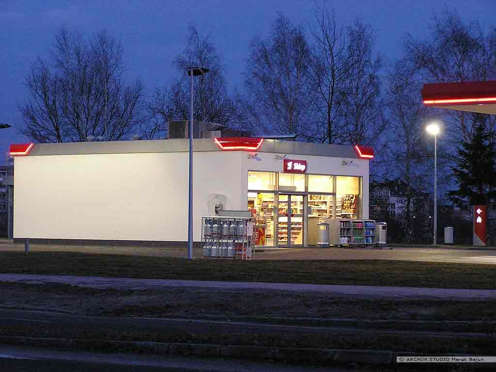 Projekt stacji benzynowej z myjnią- sklep stacji